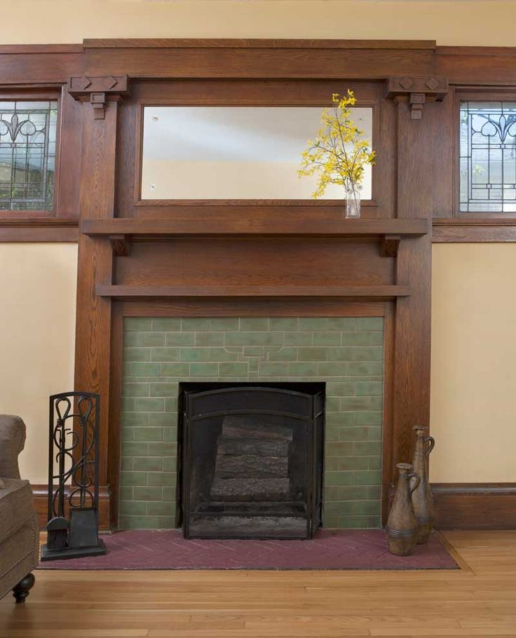 1000 ideas about fireplace surrounds on pinterest for Craftsman fireplace pictures