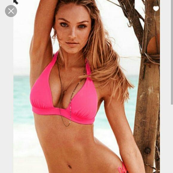 VS HALTER BOKINI TOP Beautiful and hardly worn condition. Top only. Victoria's Secret Swim Bikinis