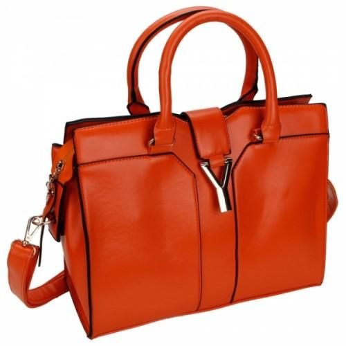 Leather Concise  Shoulder Bag  This bag made of imitation leather can be used as a handbag, shoulder bag or a messenger bag. It contains 5 pockets and comes in orange.