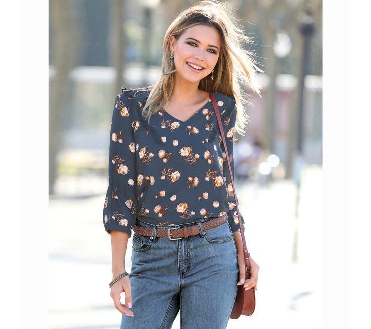 Halenka se 3/4 rukávy a volány | modino.cz #modino_cz #modino_style #style #fashion #newseason #autumn #fall
