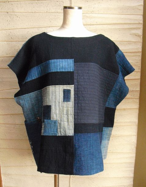 着物リメイク*古布刺し子ハンテンのパッチワークのべスト - 古布・着物リメイク 伊舞希