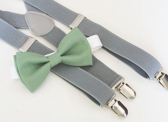 Sage green bow-tie & Light gray elastic suspender set, Adjustable neck strap and suspender, suspender and bow tie