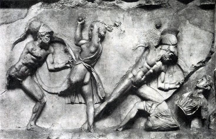 Скопас. Битва греков с амазонками. Фрагмент фриза Галикарнасского Мавзолея