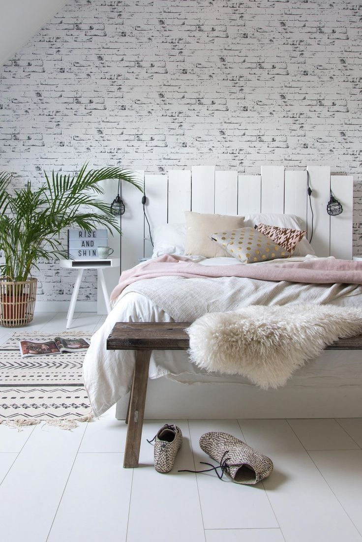 White bedroom with DIY headboard
