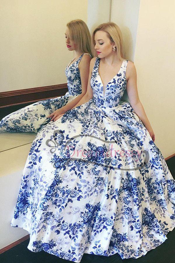 Elegant Blue And White Floral V Neck Long Prom Dress Blue And White Prom Dresses Floral Prom Dresses Printed Prom Dresses