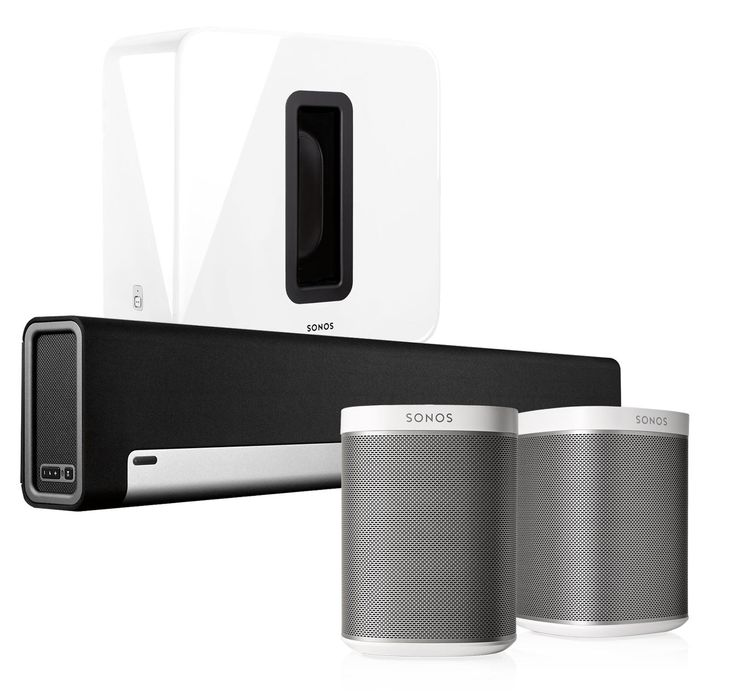 Sonos 5.1 Home Theater System with PLAY:1 (Pair), PLAYBAR, and SUB (White)