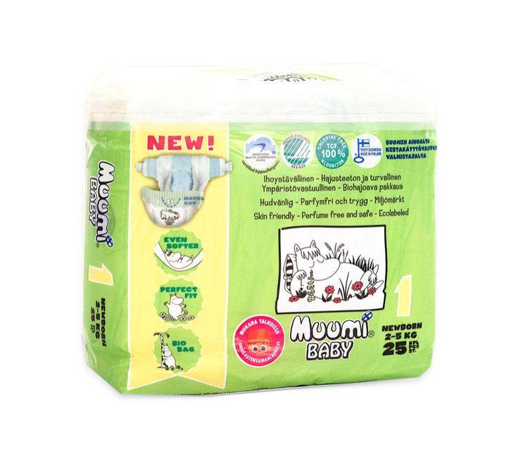 Pieluszki jednorazowe antyalergiczne dla dzieci wrażliwych MUUMI nieuczulające ekologiczne rozmiar 1 (2-5 kg ) 25 sztuk