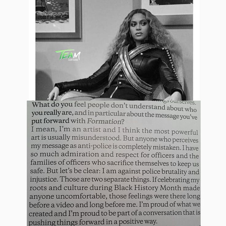 "POP star #Beyonce breaks her silence on ""Formation"" Police Brutality & Black Lives Matter in new 3 page interview with Elle Magazine. (via @ollietaylo_r)"
