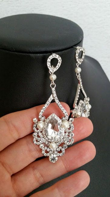 Crystal Chandelier Earrings for Wedding pearl and crystal bridal jewelry