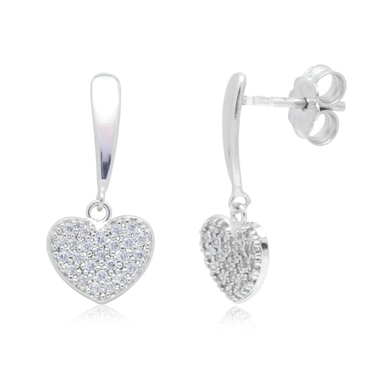 Heart Earrings in 14k White Gold with CZ Pavé