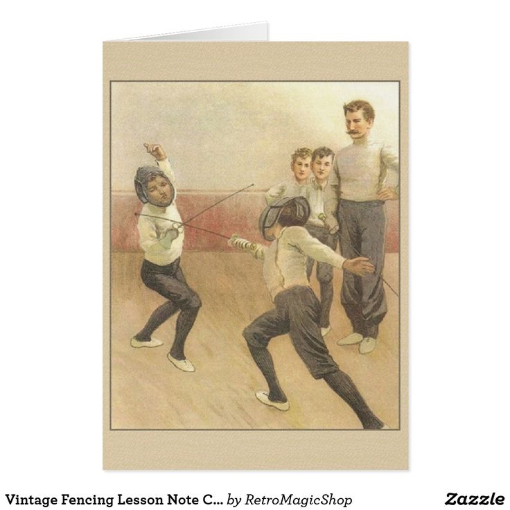 Vintage Fencing Lesson Note Card