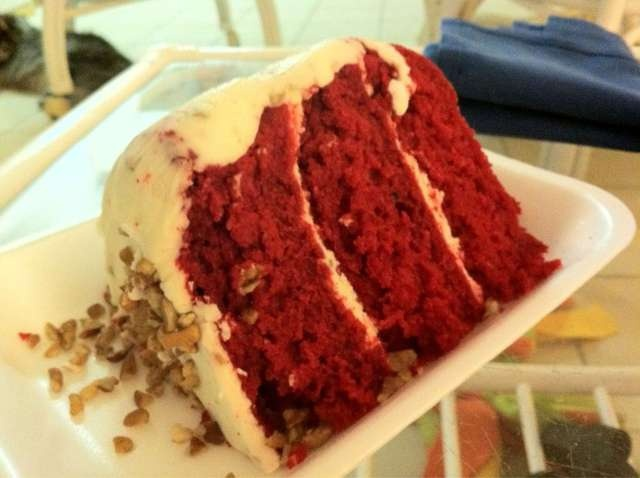 Red Velvet Cake with Cream Cheese Icing from the Bubble Room on Captiva