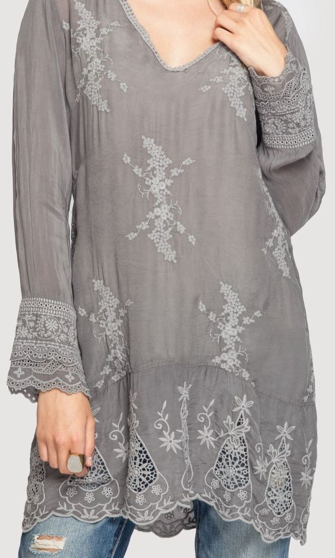 ...pretty embroidered tunic in graphite