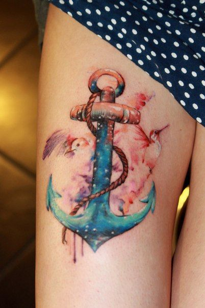 anchor tattoo...without the hummingbird and maybe add another fish. But I want the anchor outlined in a bold black so it will stand out