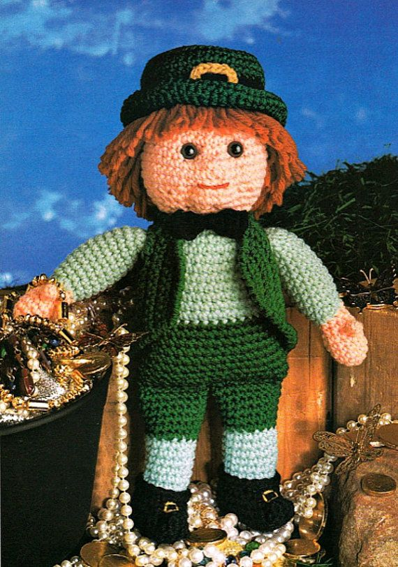 Vintage Lucky Leprechaun Doll Crochet Pattern, Irish fellow for your child to remember your heritage