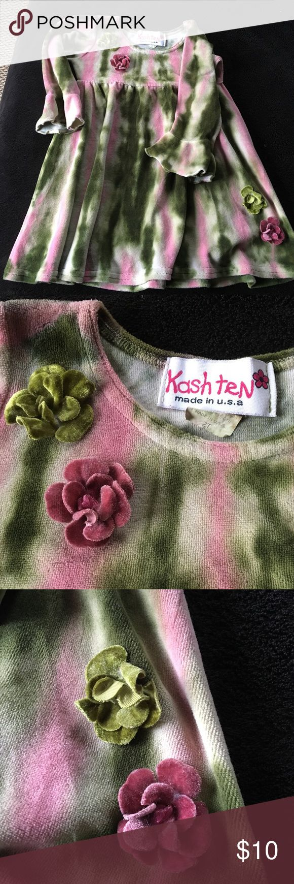 Gorgeous tie dyed girls dress! Beautiful girls velour dress that had a unique tie dyed pattern. Flower detail by neck and bottom left of dress.  Only worn a handful of times and is in excellent condition! Bought at a NYC children's boutique. Bundle and save! Dresses