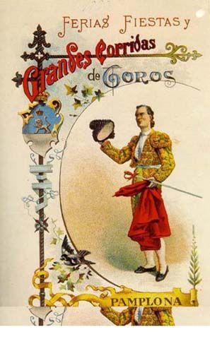Cartel Sanfermines 1890 - Fiestas y ferias de San Fermín, Pamplona.