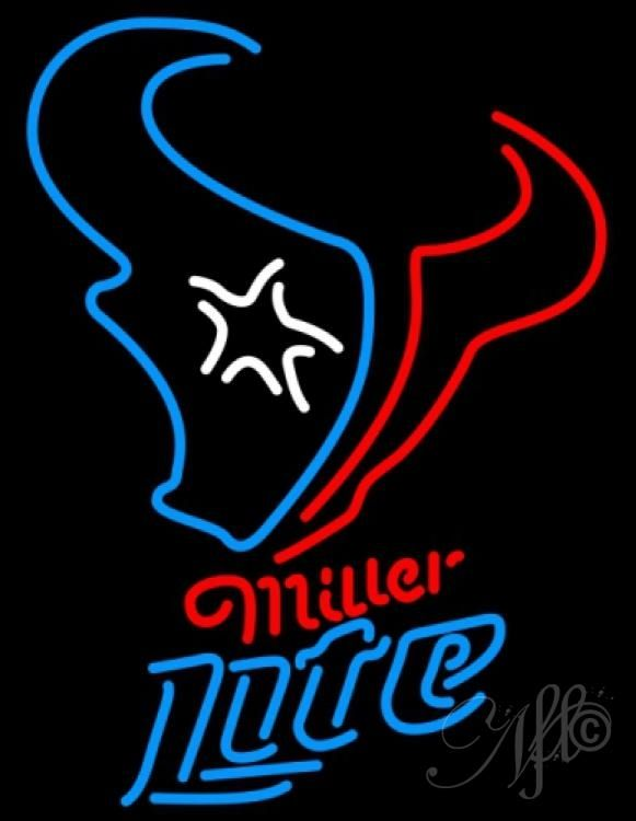 Miller Lite Neon Houston Texans NFL Neon Sign