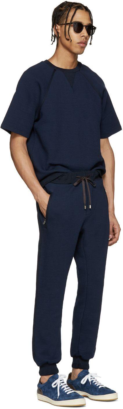 Umit Benan: Navy Scuba Jersey Pullover | SSENSE