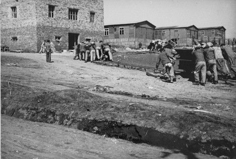Jewish prisoners at forced labor in the Plaszow camp. Plaszow, Poland, 1943-1944.