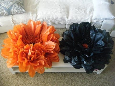 DIY GIANT BEST Flower tissue decoration - YouTube .... do this without the trays create stems for them using another giant flower tutorial pinned