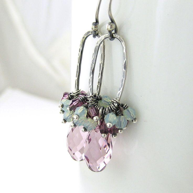Amethyst Earrings Chrysolite Opal Earrings Swarovski Crystal Jewelry February Birthstone Sterling Silver Fashion Jewelry, Beth No. 20. $64.00, via Etsy.