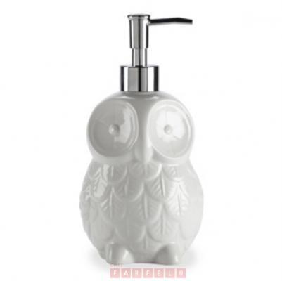 Pompe à savon en porcelaine hibou blanche