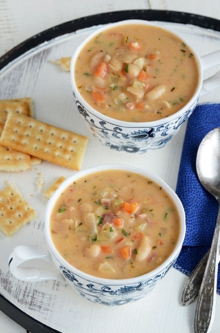 White navy bean soup with ham and little cut up carrots is so yummy and easy to make. awesome fiber. My fatherinlaw just loves this