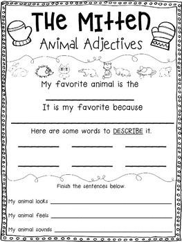 The Mitten Freebie {Animal Adjectives} {Common Core Aligned}