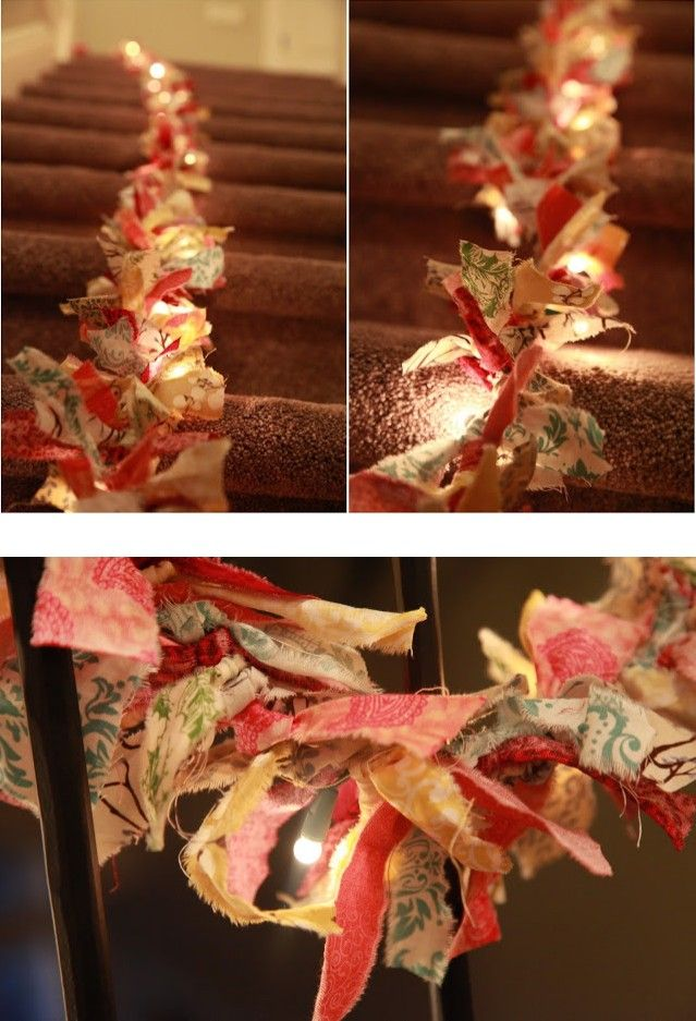 DIY Fabric Garland: Made with strips of torn fabric tied onto a string of Christmas lights.