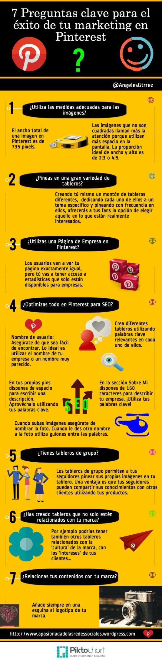 #Infografia 7 Preguntas clave para el éxito de tu #Marketing en #PINTEREST   #SocialMedia #RRSS #RedesSociales