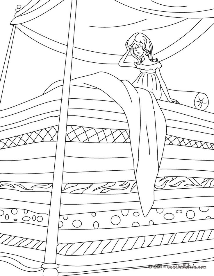 The Princess and the Pea coloring page - ANDERSEN fairy tales coloring pages