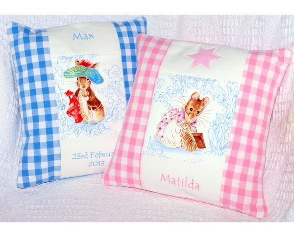 Name and Date cushion featuring a Beatrix Potter character.