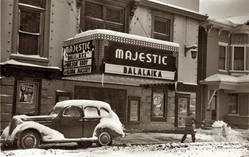 February 1940. Shoveling snow away from the movie entrance in Chillicothe, Ohio.