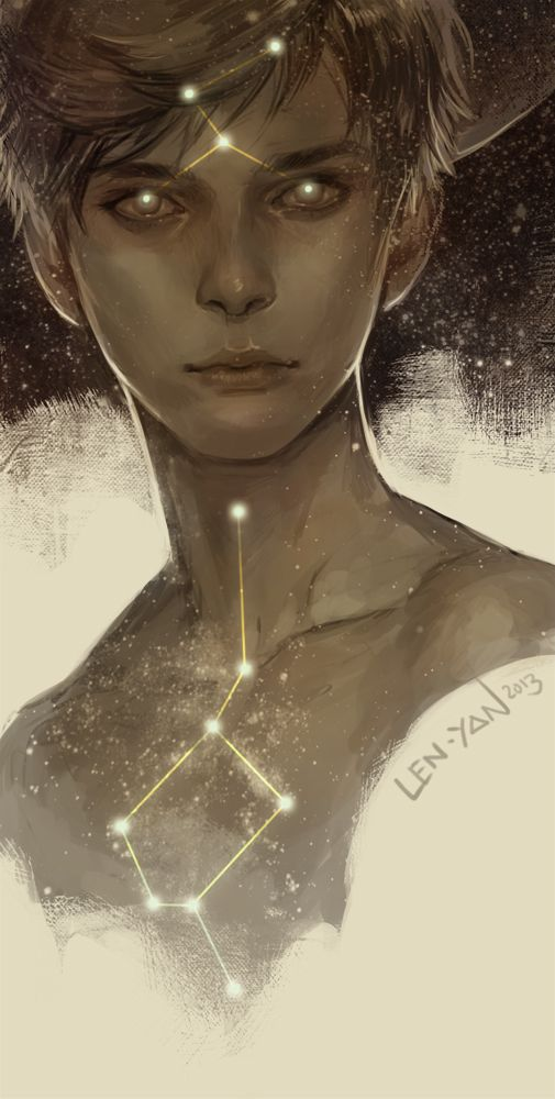 "A human portrayal of Maion the Bright, the Fae deity and founder of their race. His body is said to be composed of stars and the purest fire, hence the constellations, and the epithet of the Fae race, the ""sons of fire""."