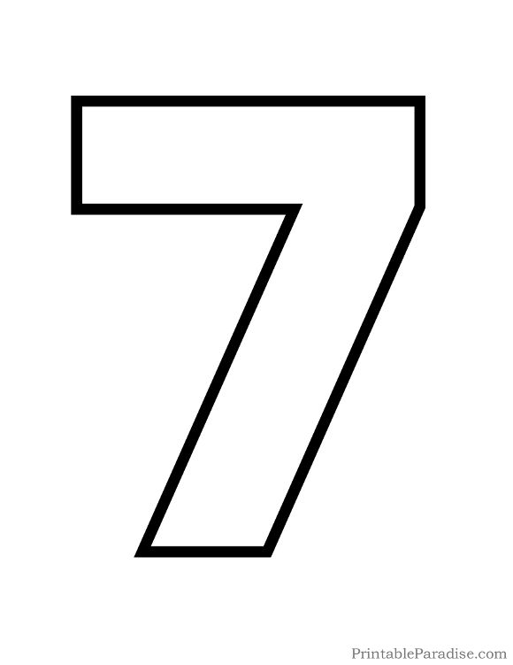 Printable Bubble Number 7 Outline