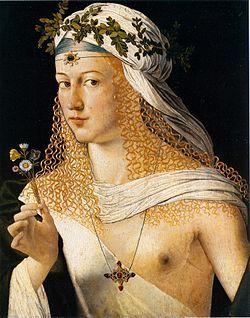 Portrait de femme par Bartolomeo Veneto (le tableau est traditionnellement considéré comme représentant Lucrèce Borgia)- Lucréce Borgia (Subiaco 1480-Ferrare 1519), célèbre par une conduite immorale dont la réalité a été récemment contestée, elle a sans doute été un instrument politique aux mains de son père et de son frère.