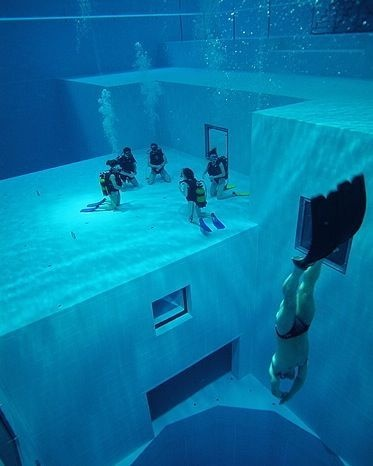 nemo 33 is the deepest indoor swimming pool in the world located in brussels belgium its maximum depth is 113 ft it contains highly filtered spring