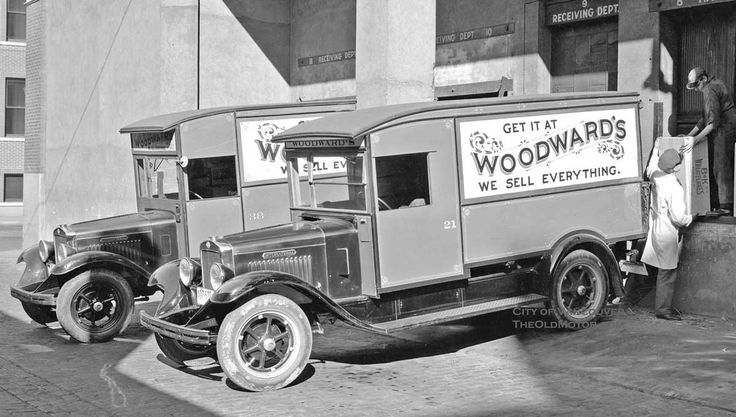 """Woodward's, Ltd. – """"We Sell Everything"""", Vancouver, B.C.: Sporting a slogan worthy of Amazon.com today, these International """"S"""" series panel trucks appear ready to deliver the goods back on September 24, 1931. Woodward's Department Stores were fixtures on the retail scene in British Columbia and Alberta, Canada throughout much of the twentieth century. See and learn more @ http://theoldmotor.com/?p=111491"""