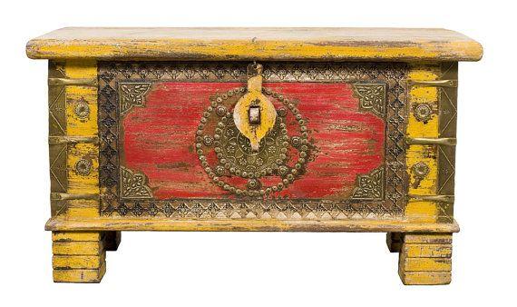 Vintage Painted Indian Treasure Storage Chest With Metal