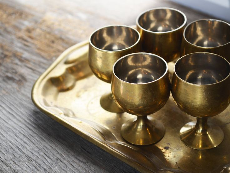 Vintage Solid Brass Barware, Shot or Cordial Glasses and Tray circa the 1970s, Hollywood Regency by Trashtiques on Etsy https://www.etsy.com/ca/listing/569247391/vintage-solid-brass-barware-shot-or