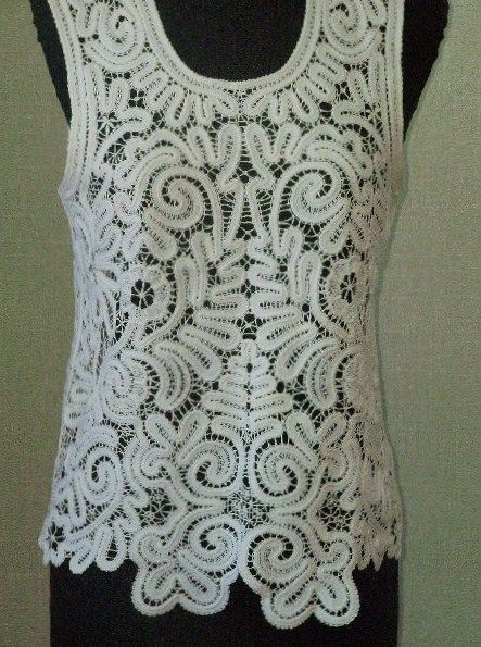 Russian bobbin lace. A sleeveless blouse. #beauty #design #lace #Russian
