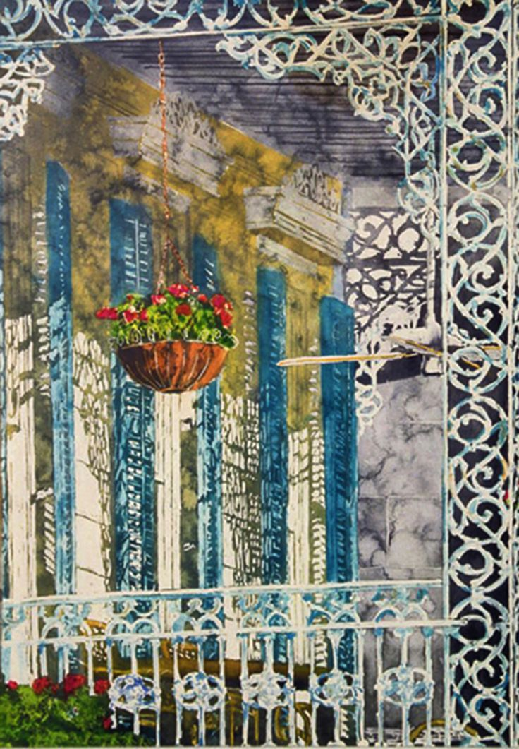 "geranium balcony n orleans 23"" x 16""   micheal zarowsky - watercolour on arches paper available 850.00 (unfr)"