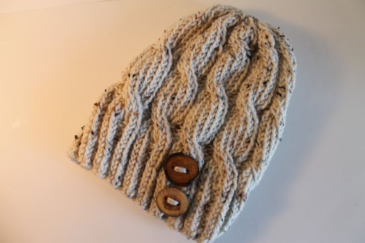 Handmade Cable Knitted Beanie Hat Cream Beige Oatmeal Color with Wooden Buttons by FunkieFrocks on Etsy