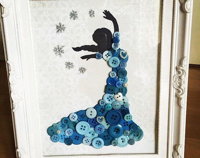 Inspiré silhouette princesse Disney. Bouton d'art de décor shabby chic / cadre. Décor de crèche. Princesse Elsa / Frozen. Cadeau de bébé. Art mural.