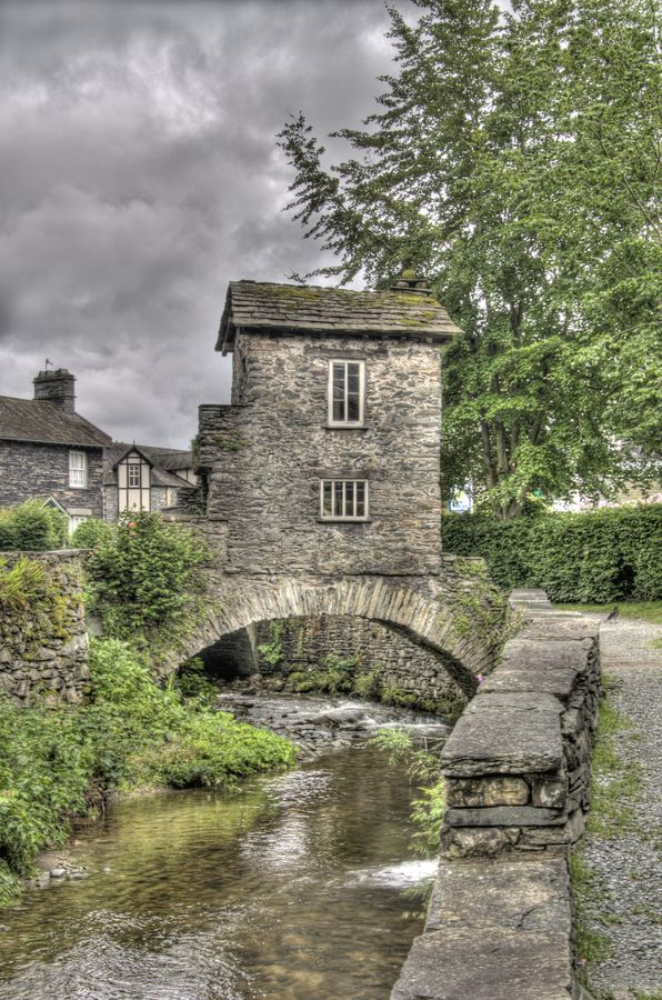 Ambleside ~ is a town in Cumbria, situated  at he head of Windermere, England's largest Lake.
