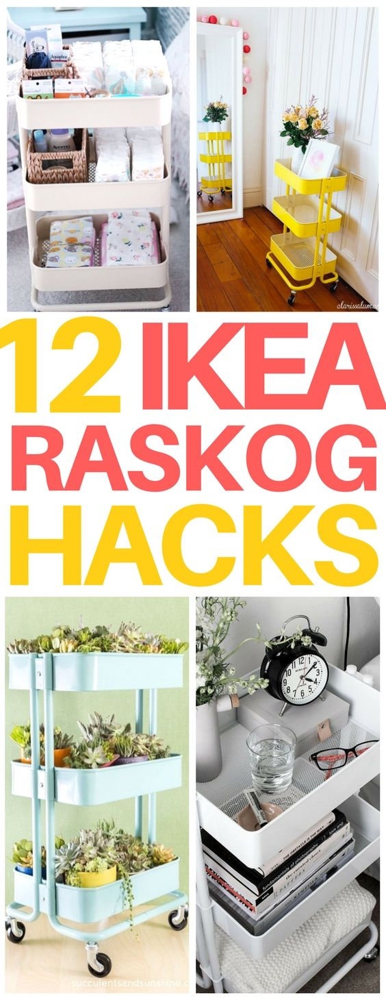 AMAZING! This Raskogcart is only $30 and can you believe all the Ikea hacks you can do with it?? Great for organizing a small bathroom, nursery, or even to make a quick diy bar or nightstand for your apartment! #ikeahacks #organization #budget