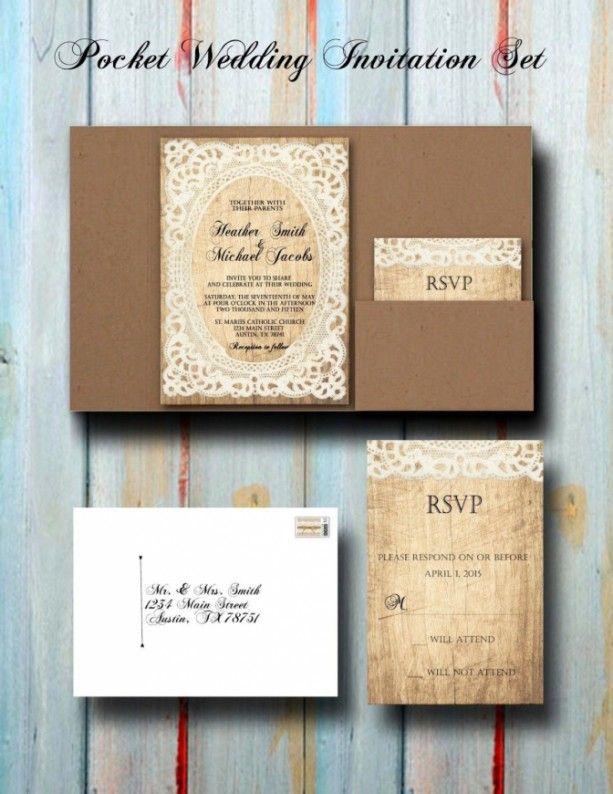 reply to wedding invitation m%0A Custom Vintage Rustic Lace Pocket Wedding Invitation Set  Pocket Wedding  Invites