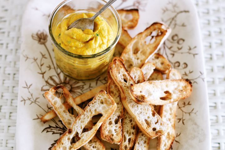 Cumin and pumpkin dip with Turkish bread wafers