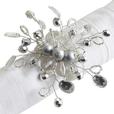 Beaded Napkin Ring - Silver